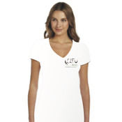 Women's Rhino Design - White  V-neck