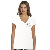 Women's Elephant Design - White V-neck